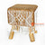 MRC151 WOODEN SQUARE STOOL WITH NATURAL WATER HYACINTH SEAT AND WHITE MACRAME