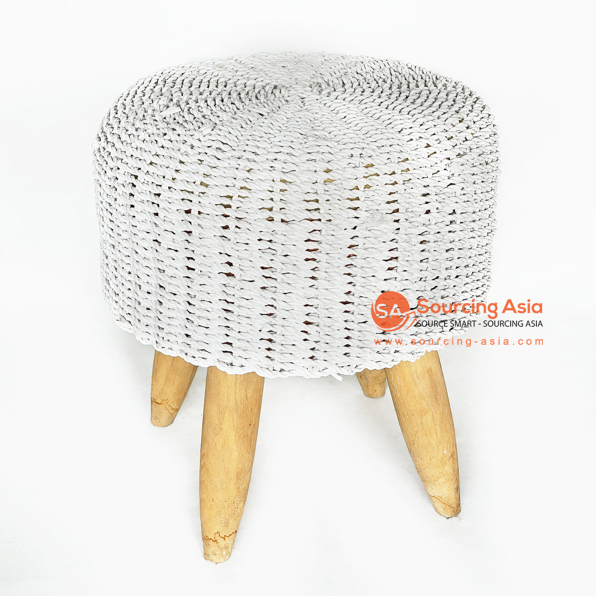 MRC153 NATURAL WOODEN ROUND STOOL WITH WHITE SEAGRASS SEAT