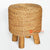 MRC155 NATURAL WOODEN ROUND STOOL WITH WATER HYACINTH SEAT