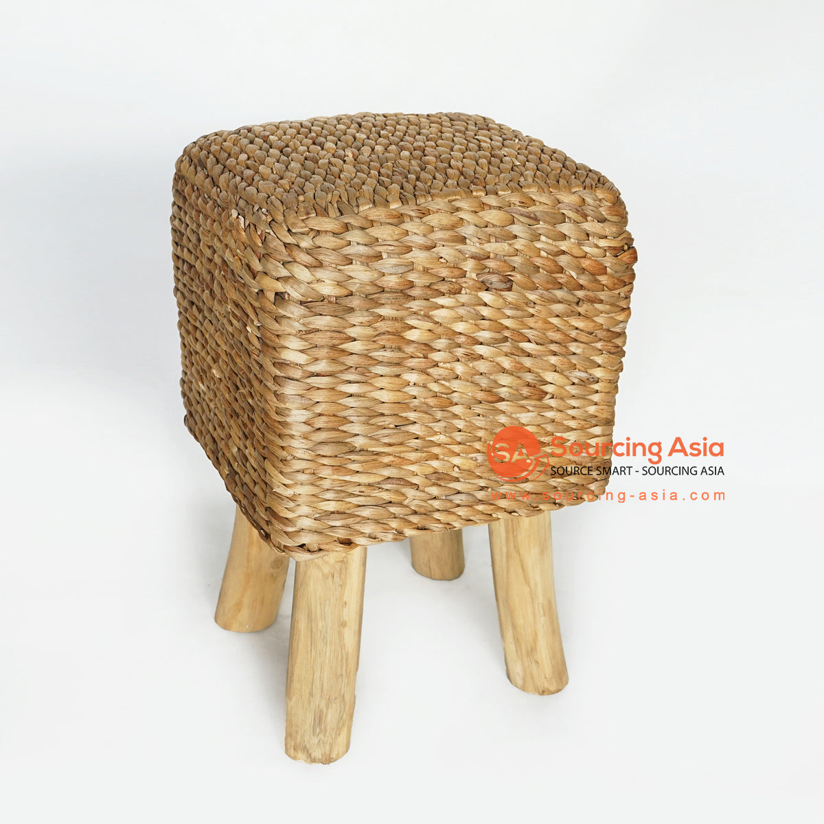 MRC156 NATURAL WOODEN SQUARE STOOL WITH WATER HYACINTH SEAT