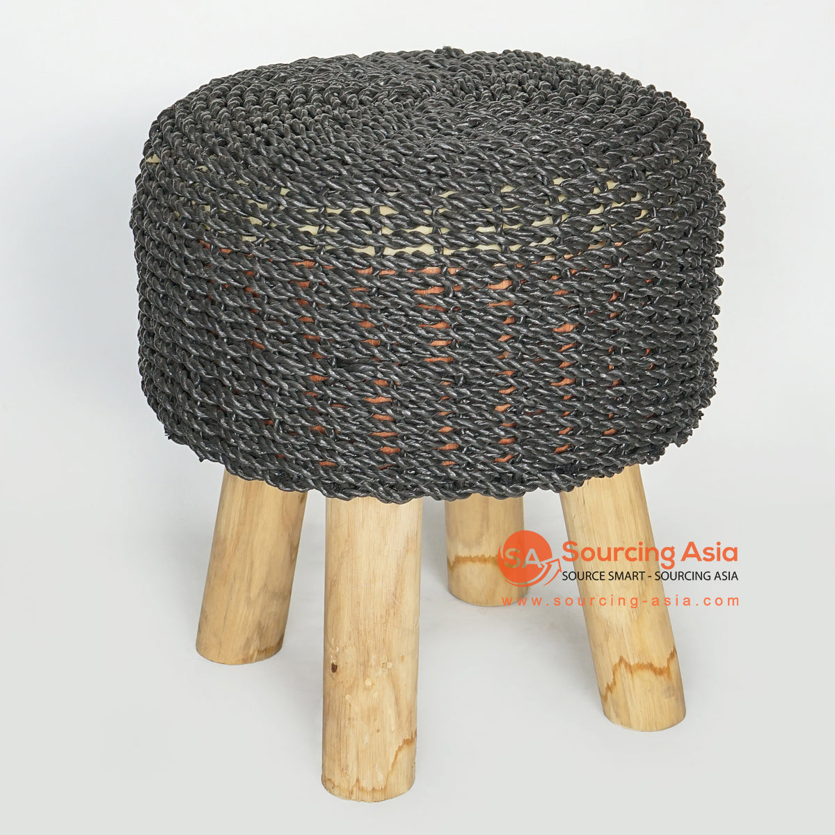 MRC158 NATURAL WOODEN ROUND STOOL WITH BLACK SEAGRASS SEAT