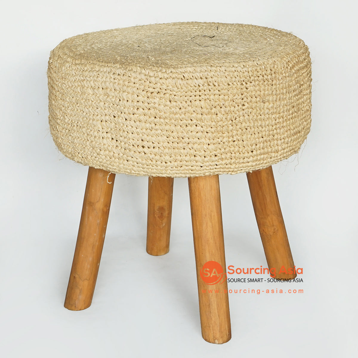 MRC159 NATURAL WOODEN ROUND STOOL WITH CREAM RAFFIA SEAT