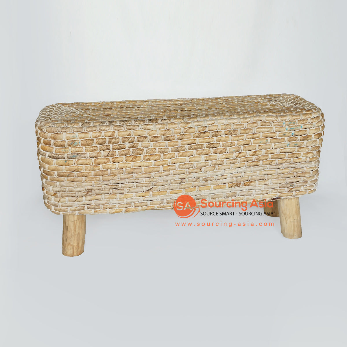 MRC161 NATURAL WOODEN RECTANGULAR STOOL WITH BANANA FIBER AND WHITE ROPE SEAT