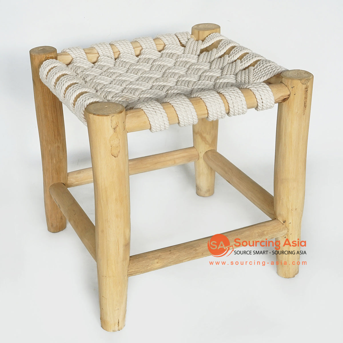 MRC162 NATURAL WOODEN SQUARE STOOL WITH WHITE ROPE SEAT