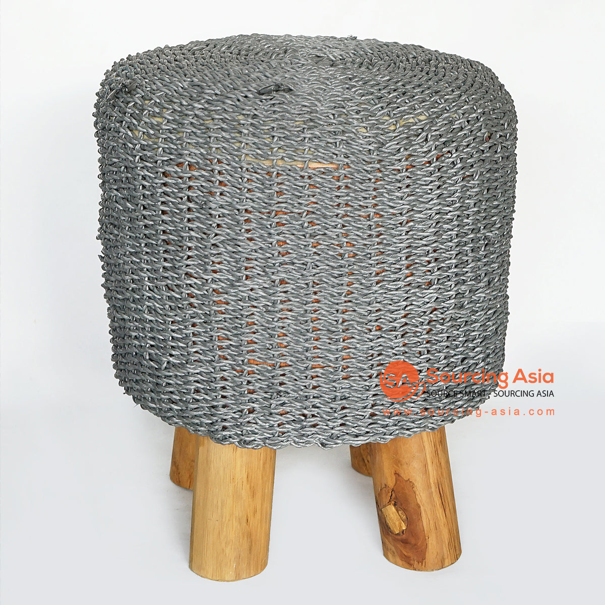 MRC163 NATURAL WOODEN ROUND STOOL WITH DARK GREY RAFFIA SEAT