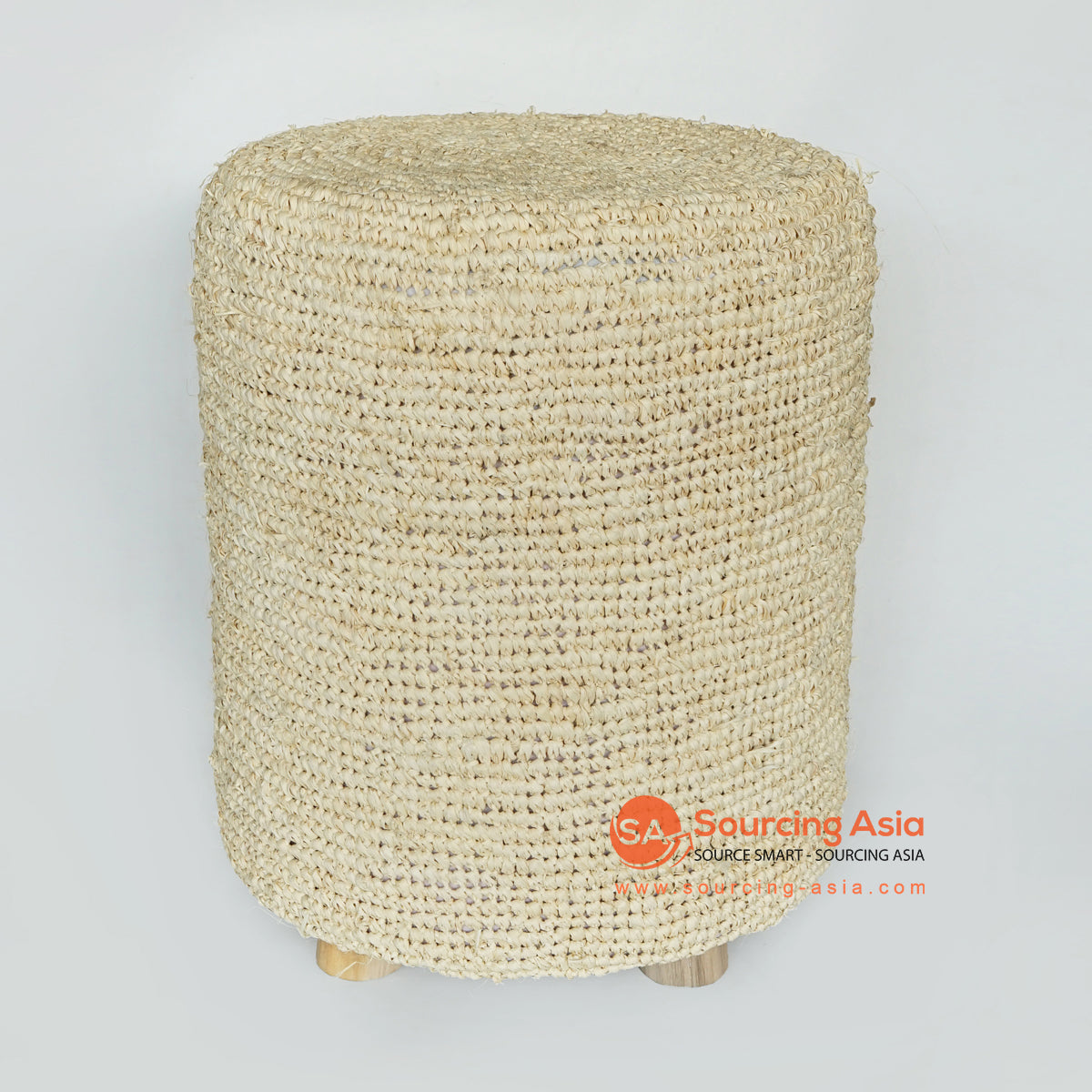 MRC166 CREAM ROUND PALM RAFFIA SITTING STOOL