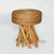 MRC167 NATURAL WOODEN ROUND STOOL WITH WATER HYACINTH SEAT