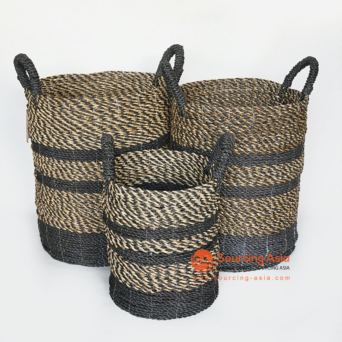 MRC169 SET OF THREE NATURAL AND BLACK SEAGRASS BASKETS WITH BLACK HANDLE