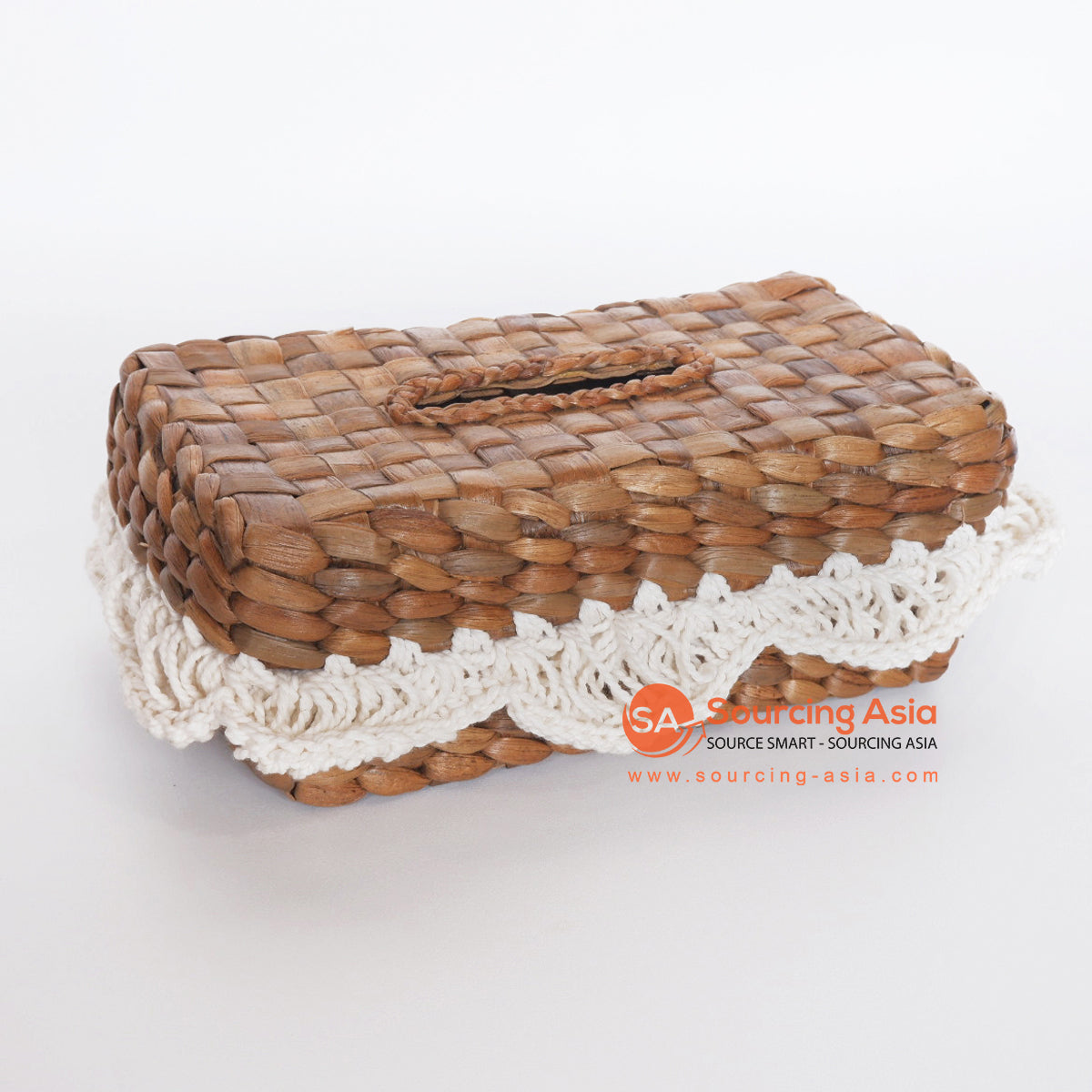 MRC269 NATURAL WATER HYACINTH RECTANGULAR TISSUE BOX WITH WHITE MACRAME FRINGE