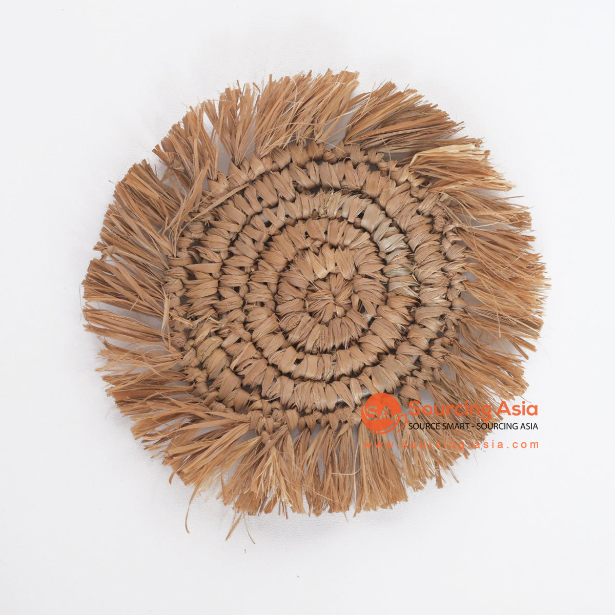 MRC286 NATURAL PALM RAFFIA ROUND COASTER