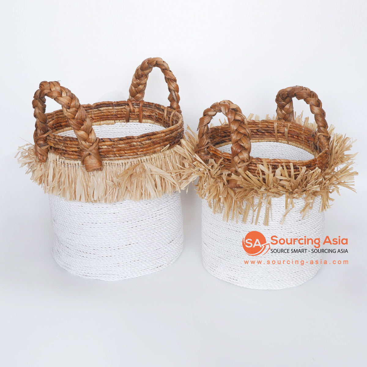 MRC295 SET OF TWO WHITE RAFFIA BASKETS WITH BANANA EDGES AND HANDLES