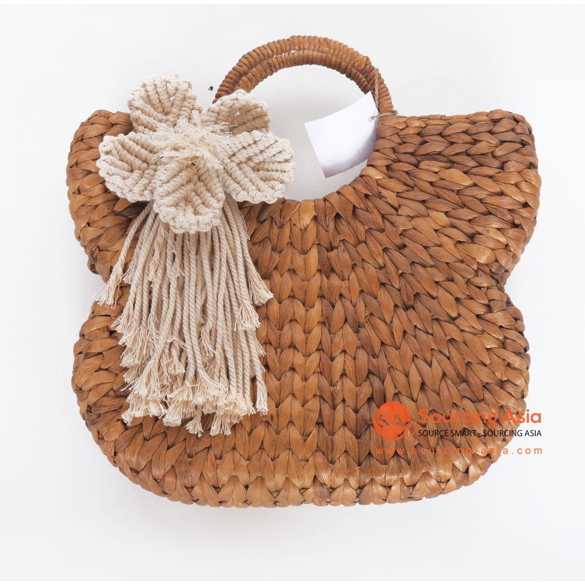 MRC296 NATURAL WATER HYACINTH HANDBAG WITH MACRAME FLOWER DECORATION