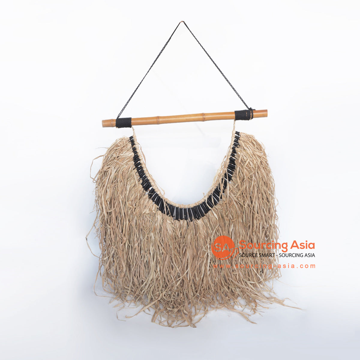 MRC301 NATURAL RATTAN AND PALM RAFFIA WALL DECORATION WITH BLACK ROPE
