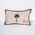 MRC309 NATURAL COTTON COVER CUSHION WITH BLACK PALM TREE EMBROIDERY AND FRAME