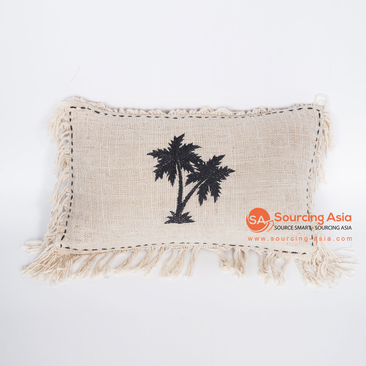 MRC312 NATURAL COTTON COVER CUSHION WITH TWO BLACK PALM TREE EMBROIDERY AND BLACK HANDSTITCHED BORDER