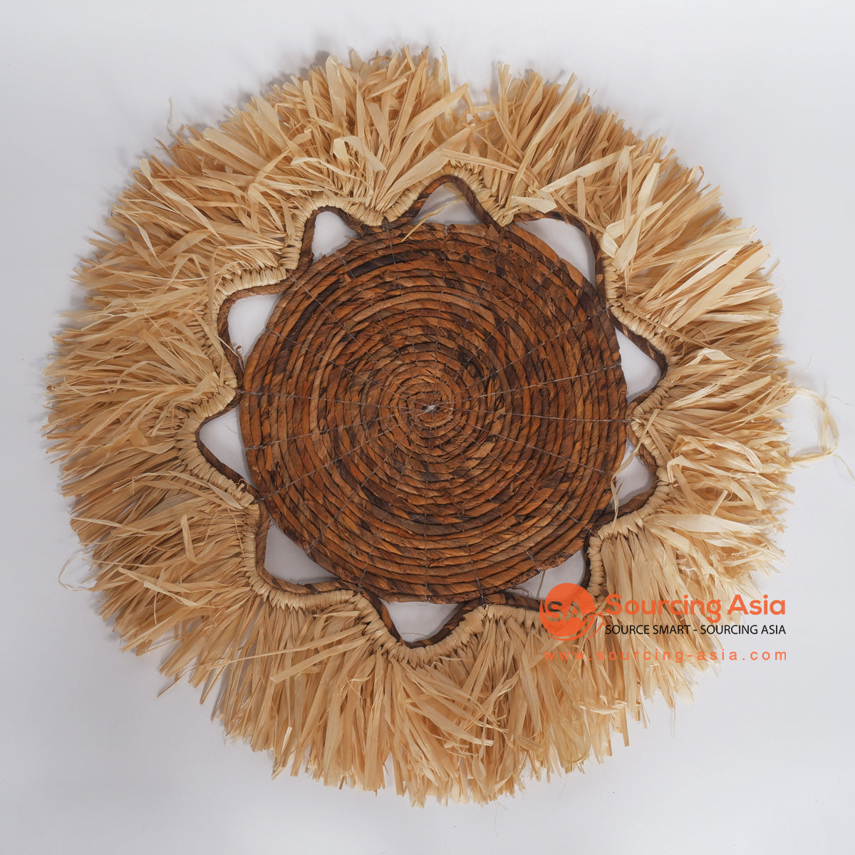 MRC330 NATURAL BANANA FIBER WALL DECORATION WITH MENDONG FRINGE