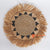 MRC331 NATURAL SEAGRASS AND BLACK RAFFIA ROUND WALL DECORATION WITH MENDONG FRINGE