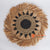 MRC332 NATURAL SEAGRASS AND BLACK RAFFIA ROUND WALL DECORATION WITH MENDONG FRINGE