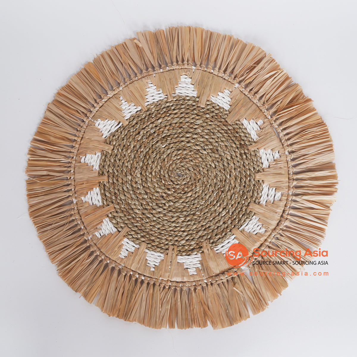 MRC334 NATURAL SEAGRASS WITH WHITE RAFFIA AND MENDONG WALL DECORATION