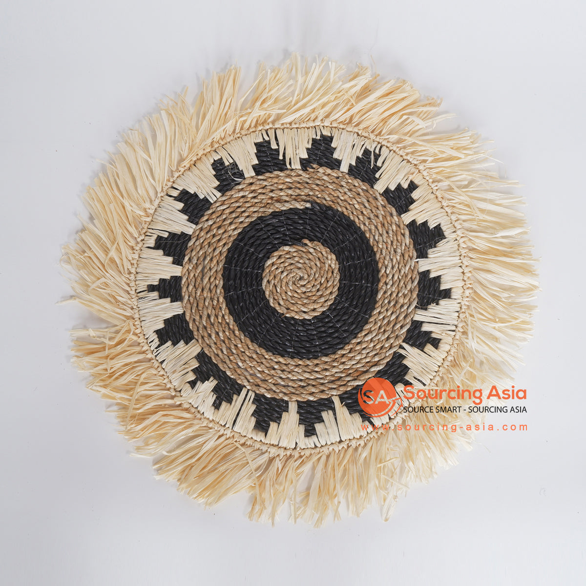 MRC335 NATURAL SEAGRASS WITH BLACK RAFFIA AND LIGHT BROWN RAFFIA ROUND WALL DECORATION