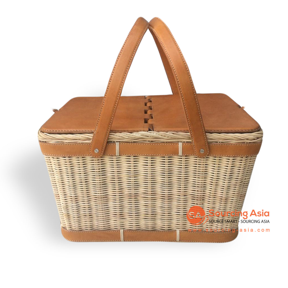 MJR003-1 LEATHER AND RATTAN PICNIC BASKET