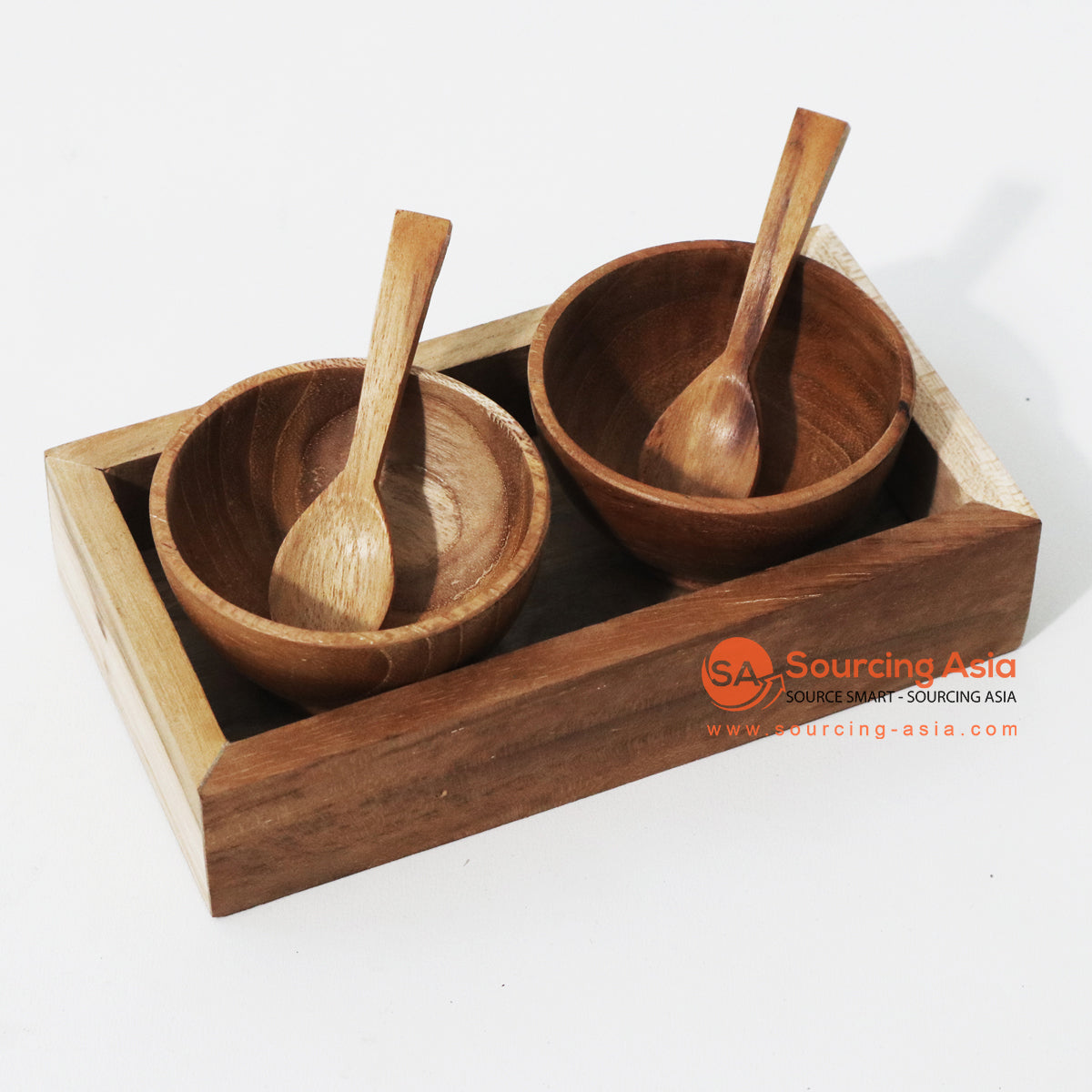 MSB013 SET OF 2 TEAK WOOD CONDIMENTS SET AND TRAY