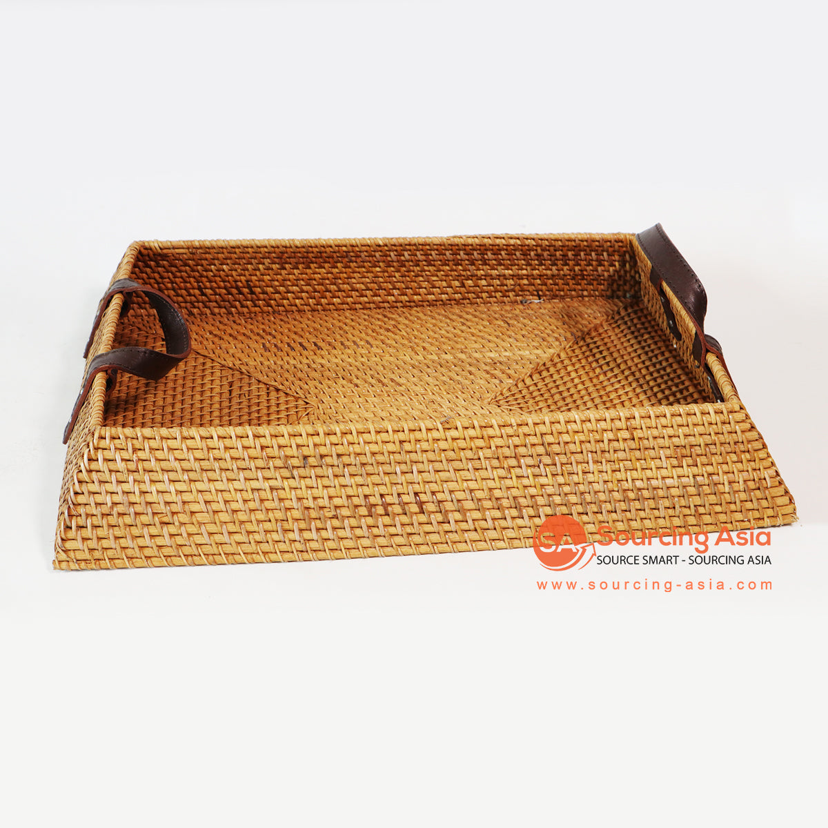 MTIC028-1 RATTAN TRAY WITH LEATHER HANDLE