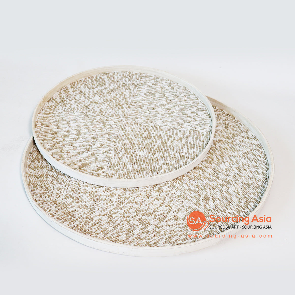MTIC052-2 SETS OF 2 BAMBOO AND BEADED TRAYS