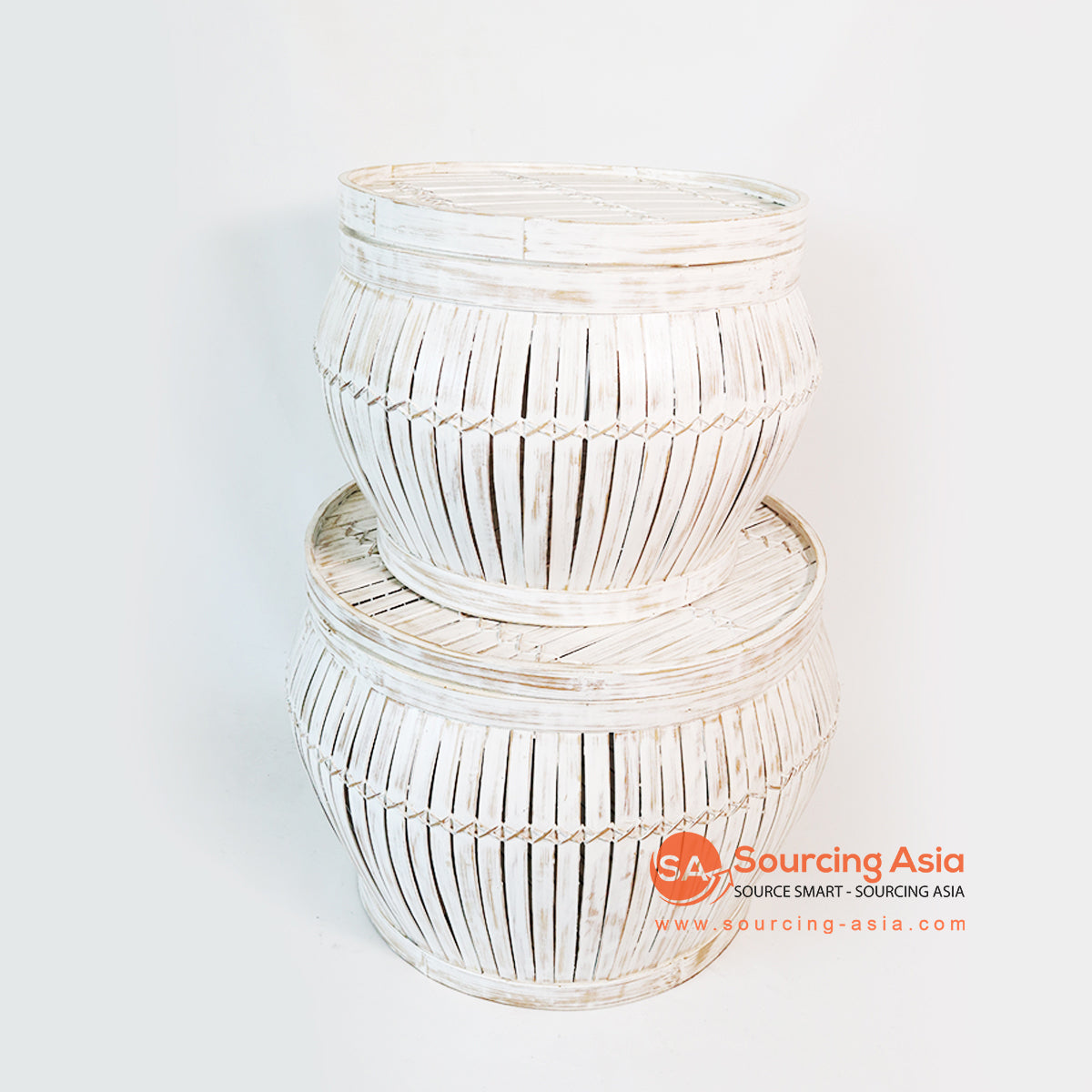 MTIC065 SET OF 2 BAMBOO BASKETS WITH LID COLOR WHITE WASH