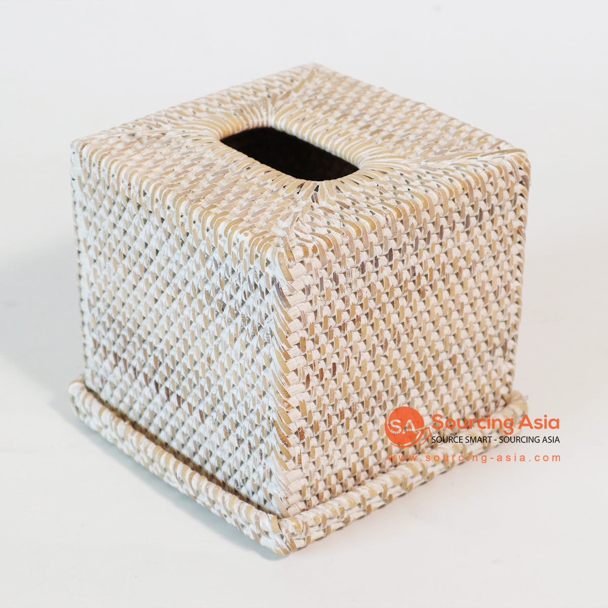 MTIC072-3 RATTAN TISSUE BOX COLOR WHITE WASH