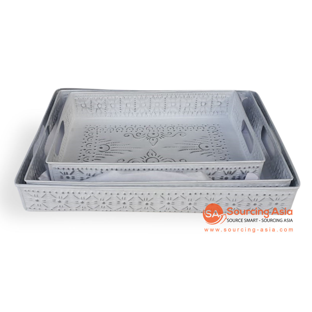 MTRA009 SET OF 3 WHITE TRAYS