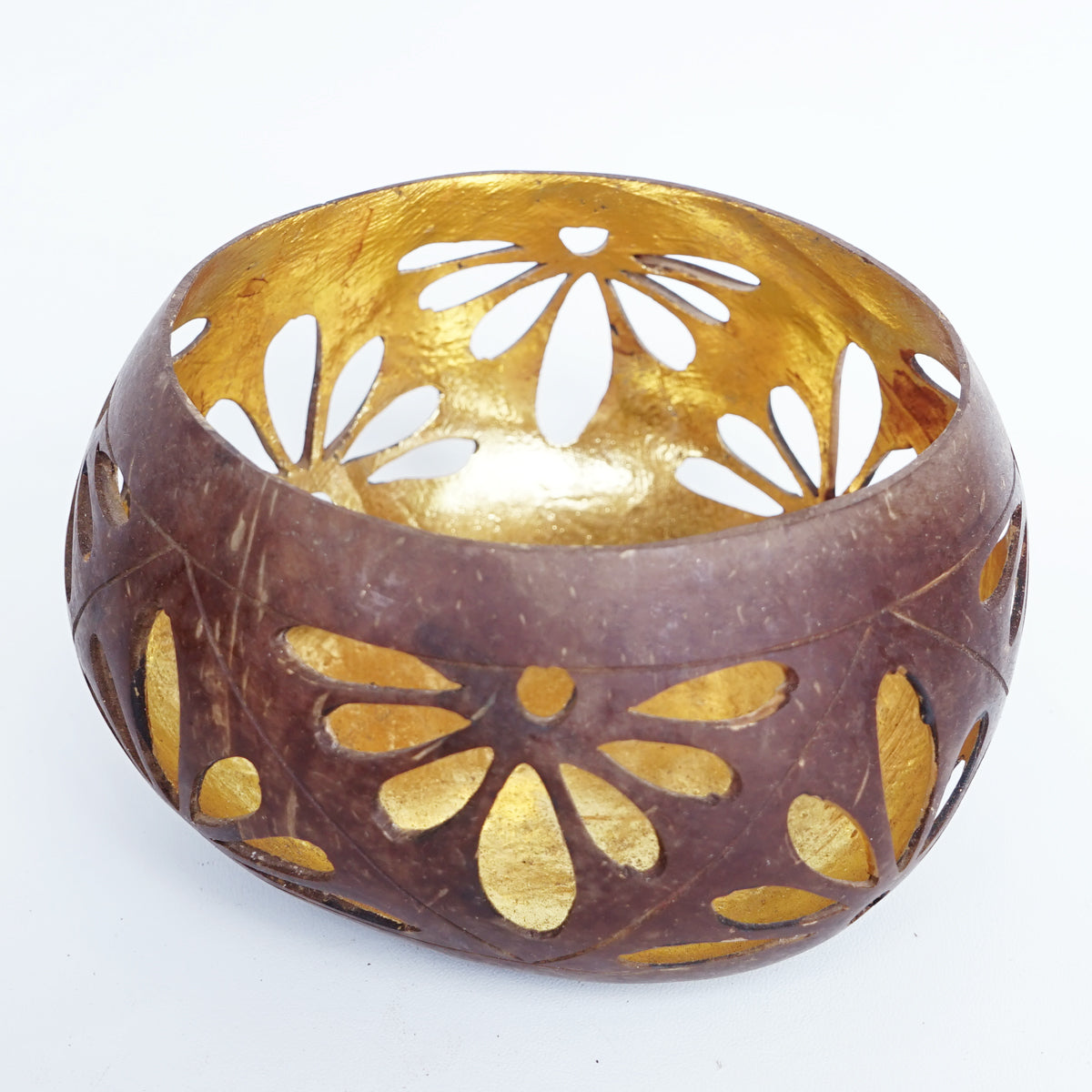 MULC031 COCONUT BOWL WITH GOLD INSIDE