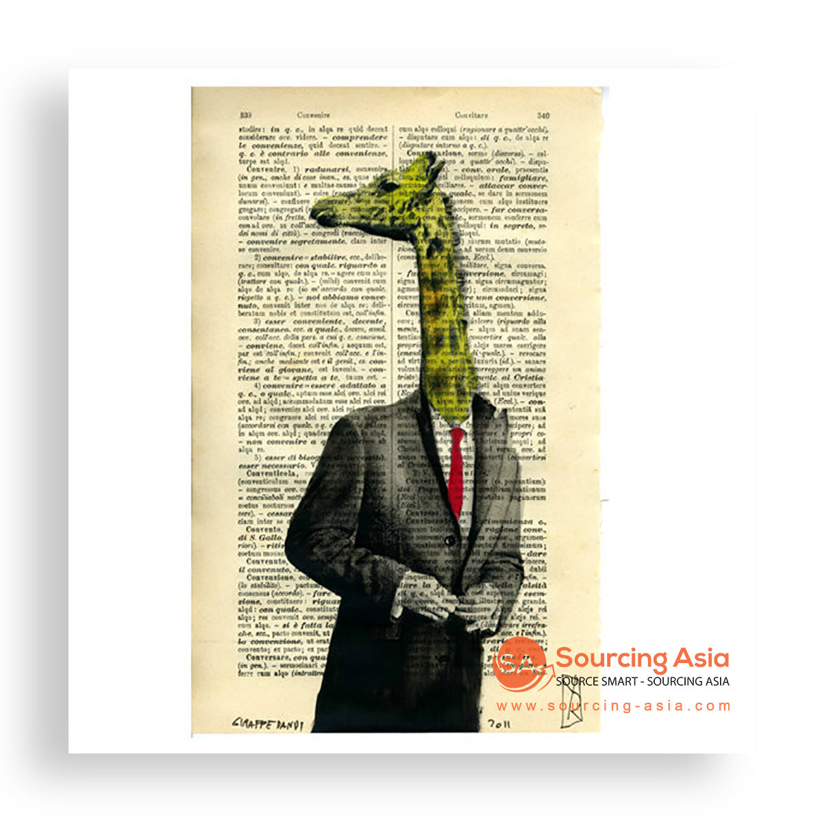 MYS157 THE GIRAFFE FIGURE PAINTING