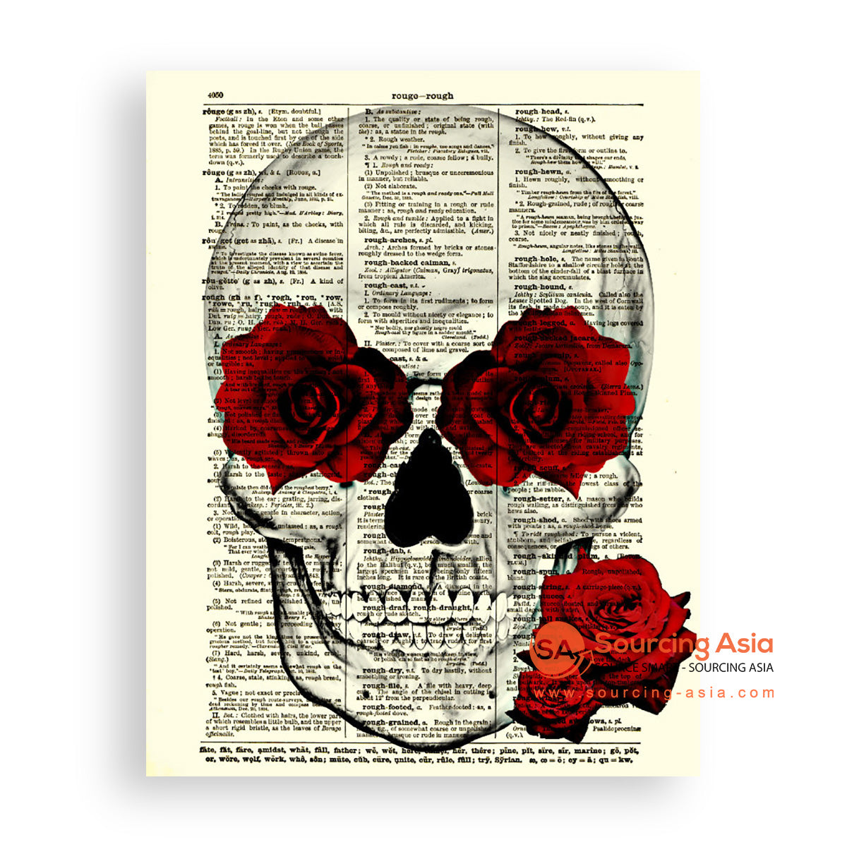 MYS168 SKULL AND ROSES PAINTING