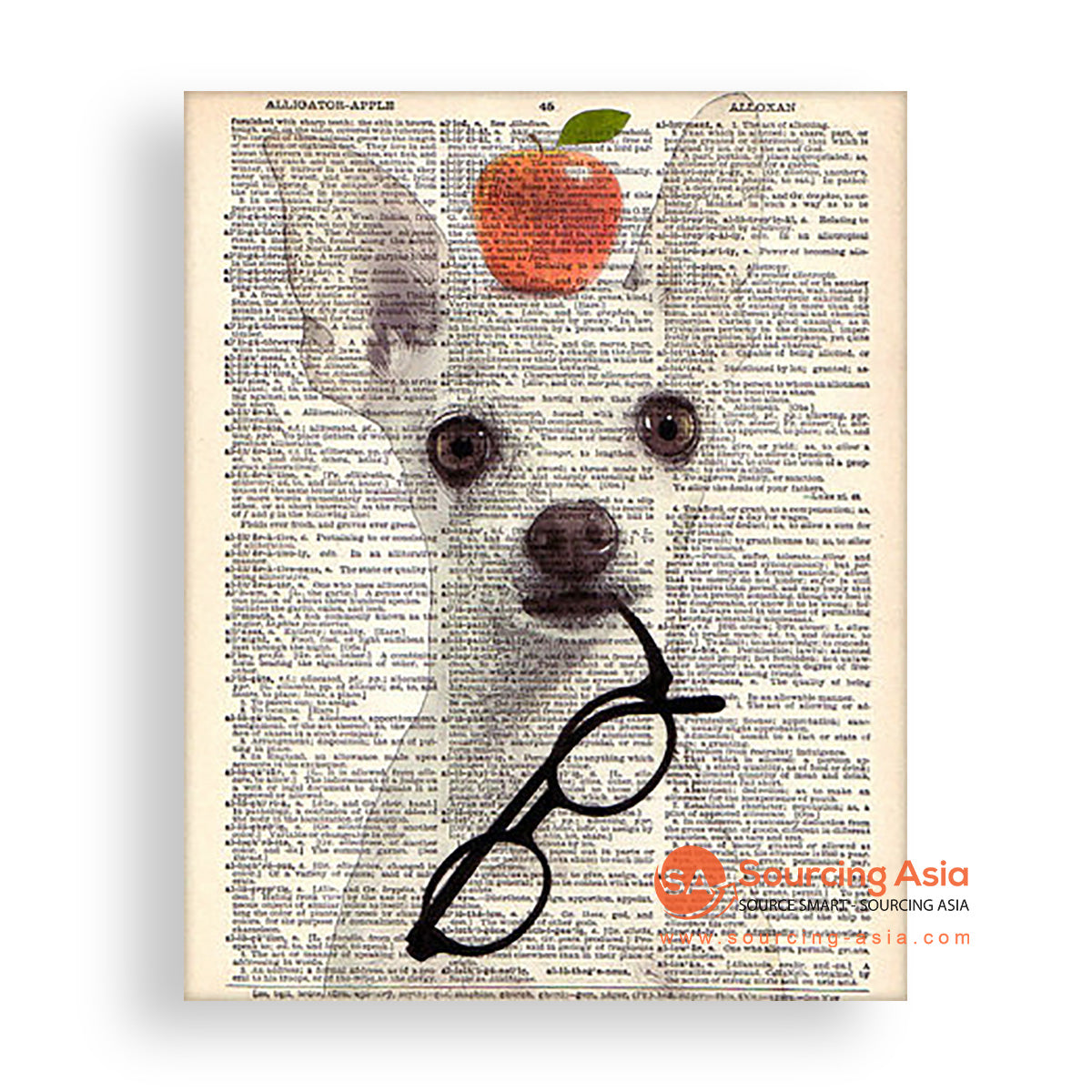MYS175 DOG WITH APPLE AND GLASSES
