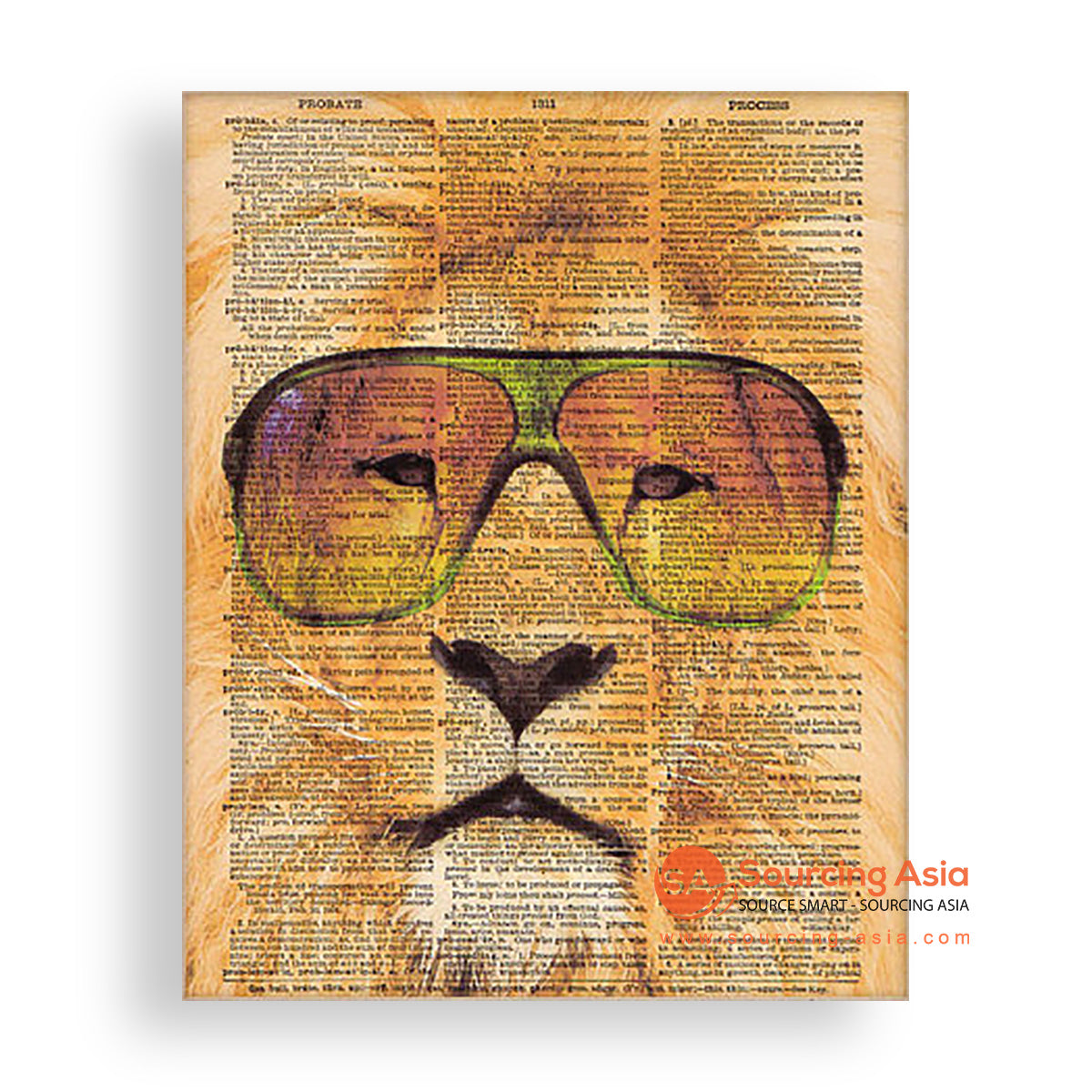 MYS176 LION AND GLASSES PAINTING