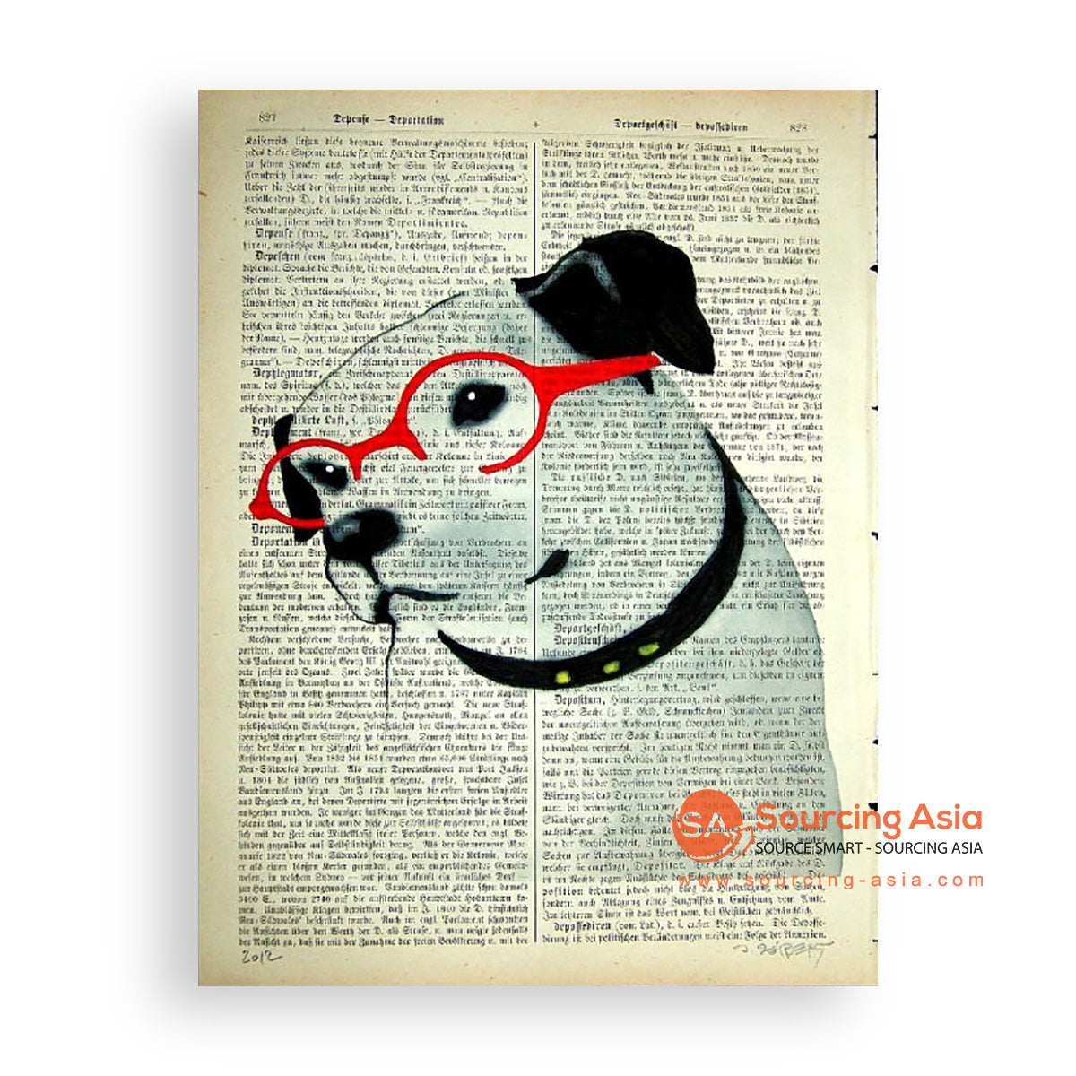 MYS183 DOG AND GLASSES PAINTING