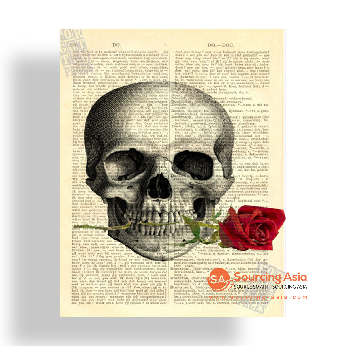 MYS187 SKULL AND ROSE PAINTING
