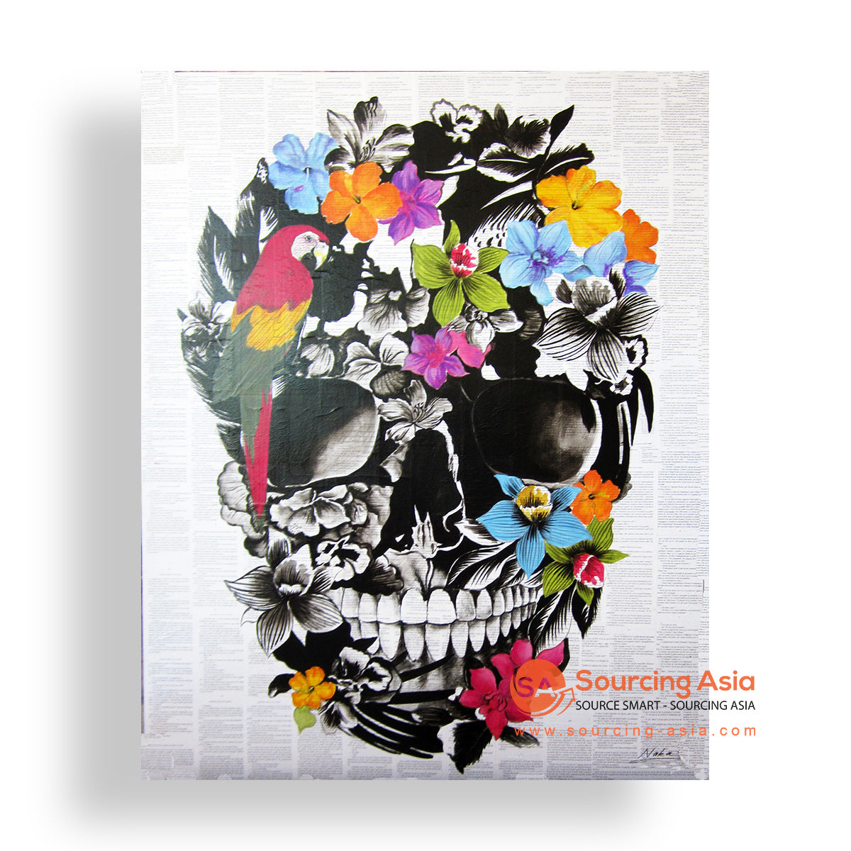 MYS189 FLORAL SKULL PAINTING