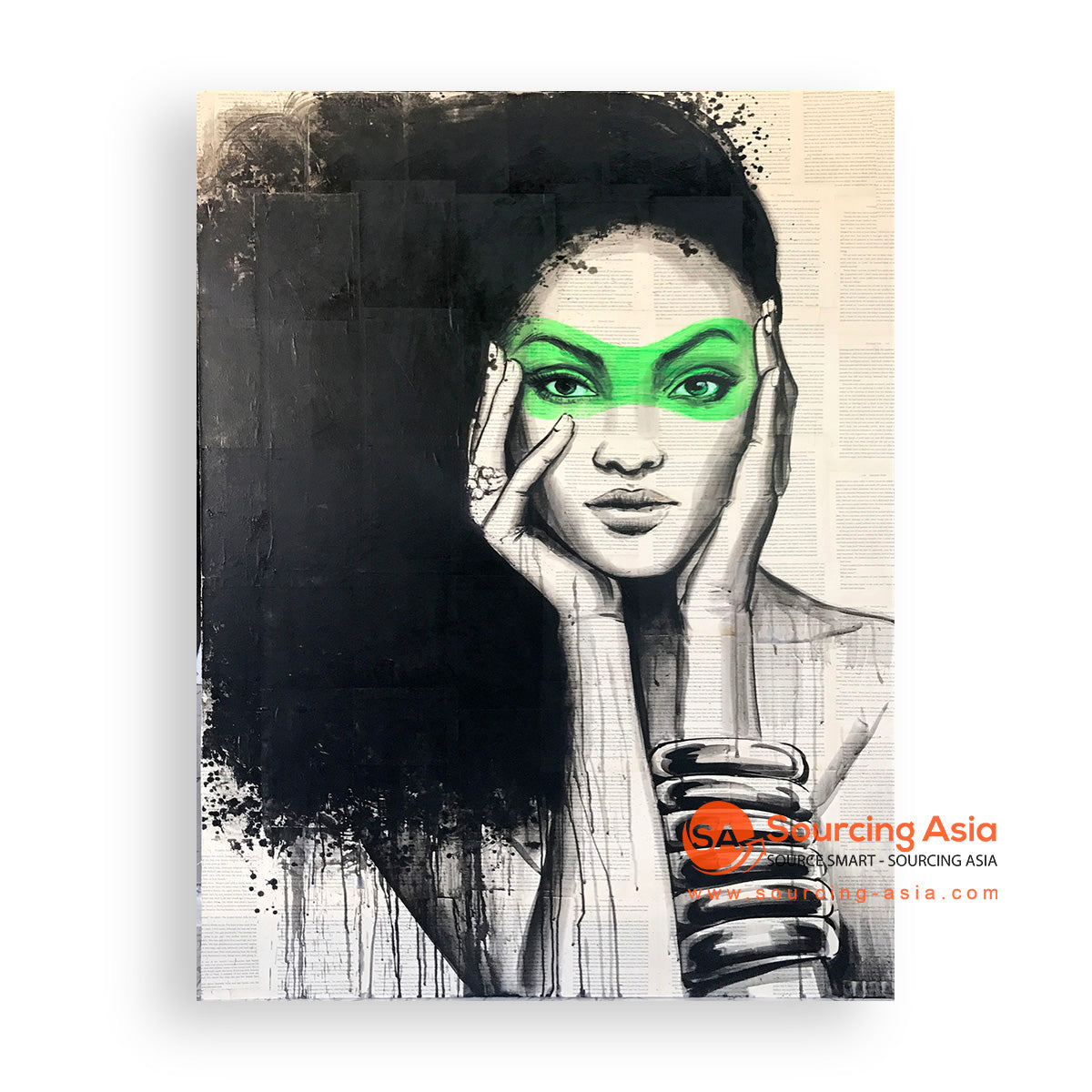 MYS350 GREEN WOMAN PAINTING