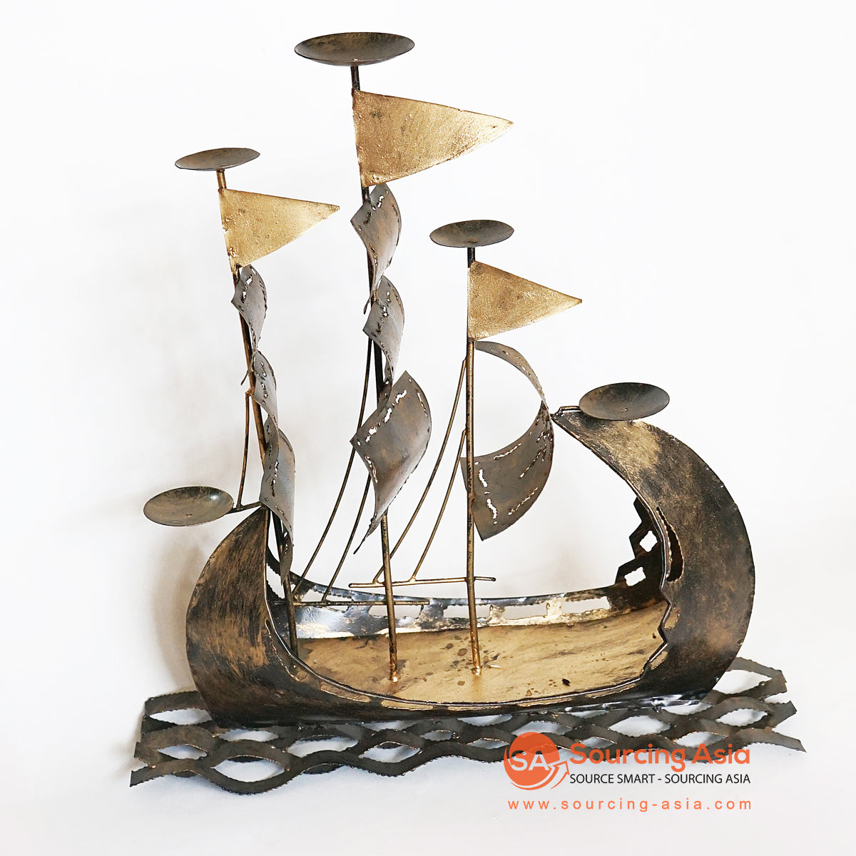 PEBC140 HAND PAINTED GOLD BLACK METAL SAILING BOAT DECORATION