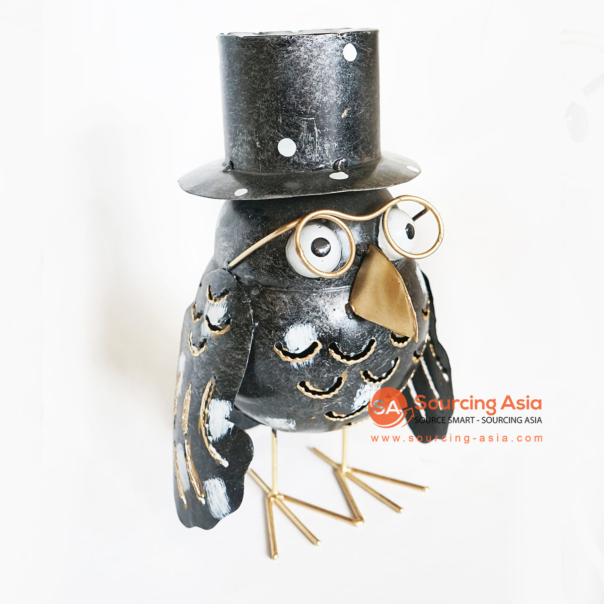 PEBC142 HAND PAINTED BLACK METAL RAVEN DECORATION WITH HAT AND GLASSES