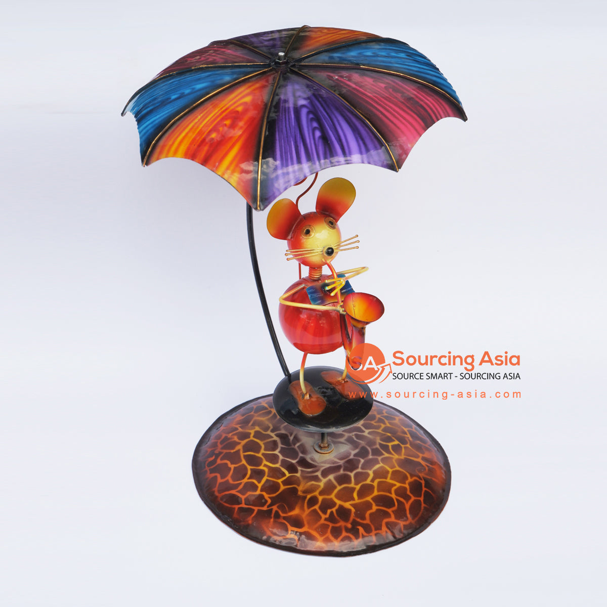 PEBC154 AIRBRUSHED PAINTED METAL DECOR MOUSE PLAYING TRUMPET UNDER THE UMBRELLA DECORATION