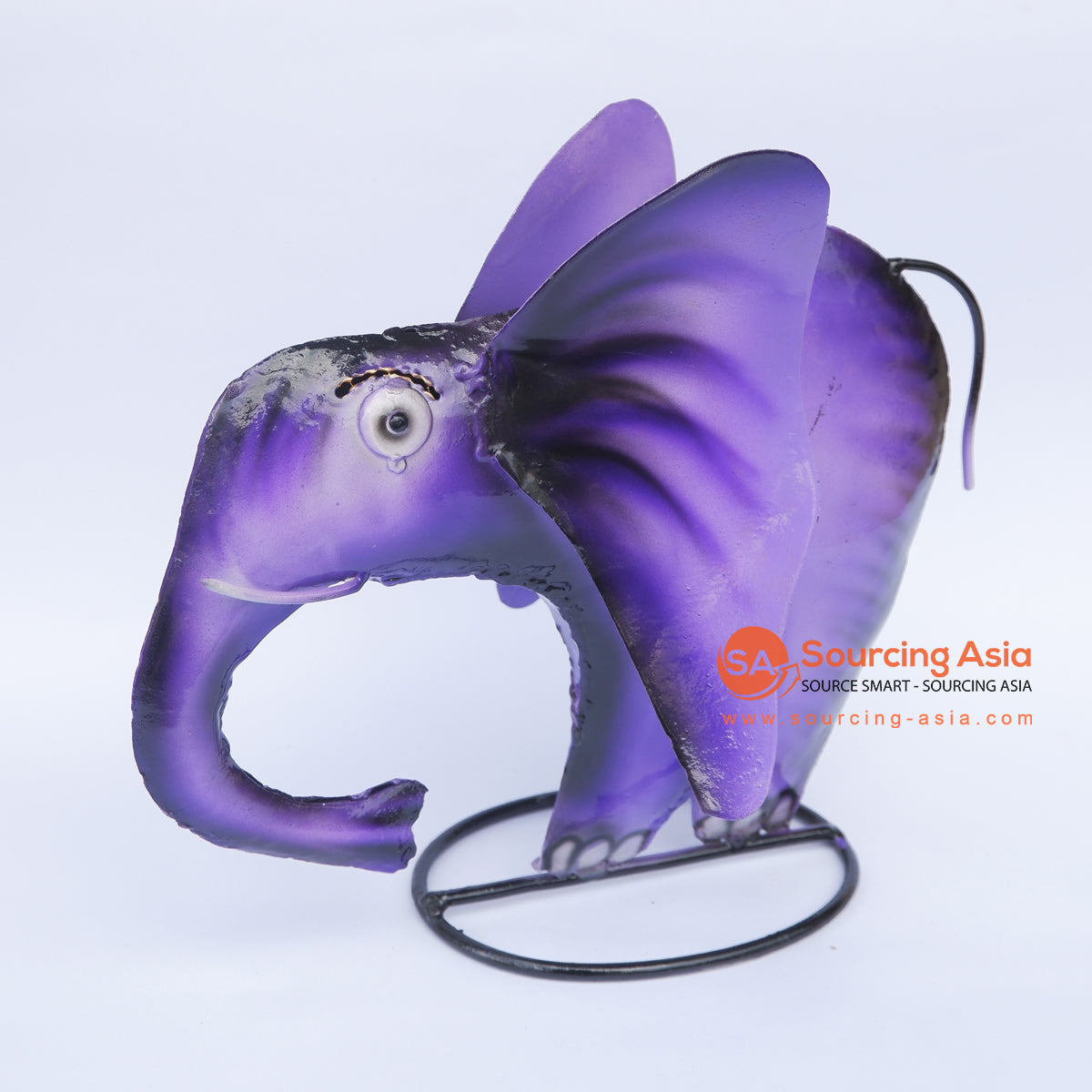 PEBC156 PURPLE AIRBRUSHED PAINTED METAL ELEPHANT DECORATION
