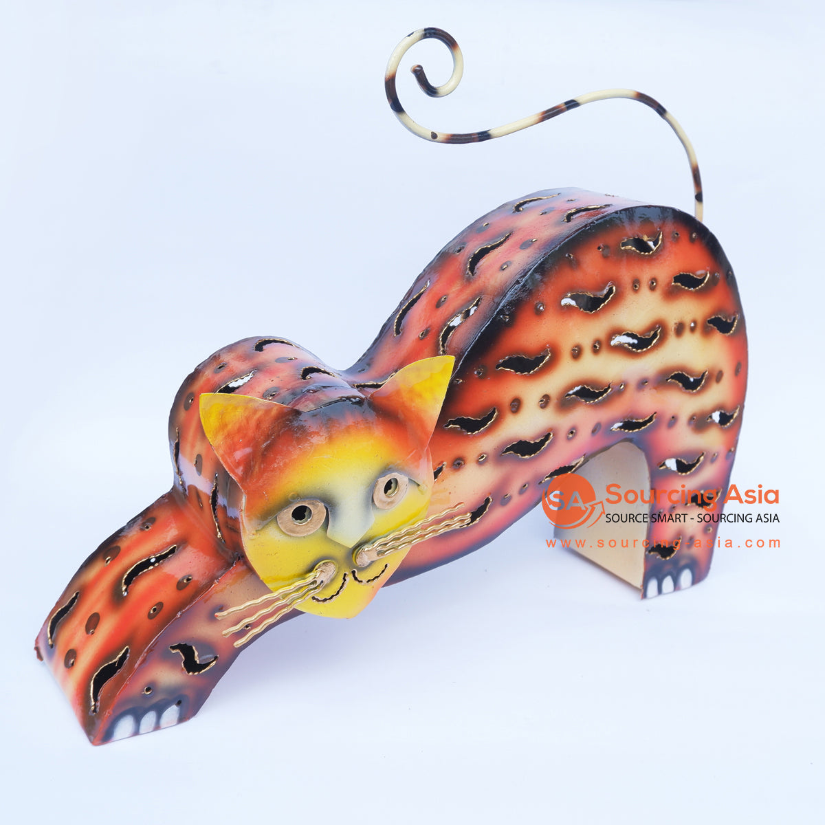 PEBC157 AIRBRUSHED PAINTED METAL CAT DECORATION