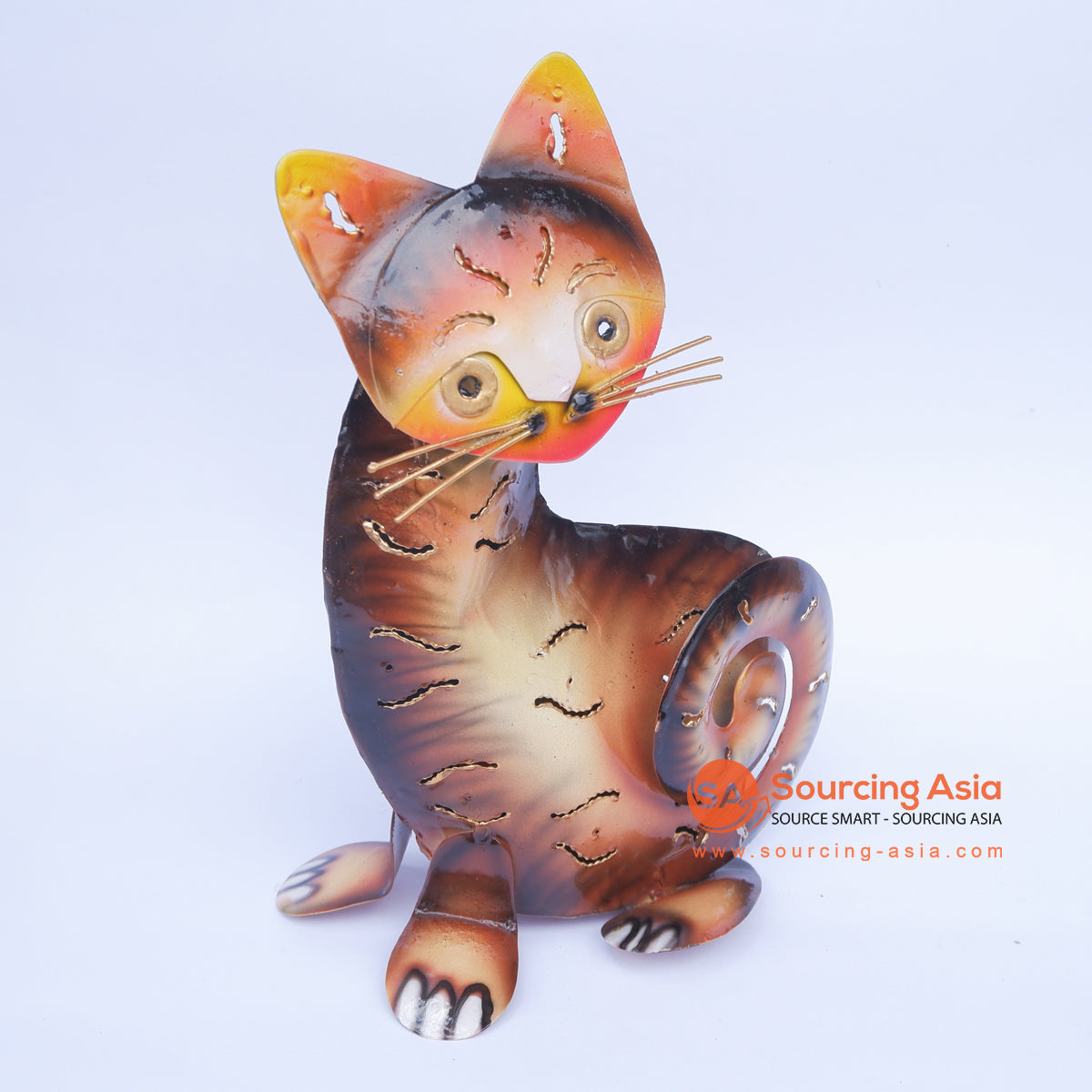 PEBC158 AIRBRUSHED PAINTED METAL CAT DECORATION