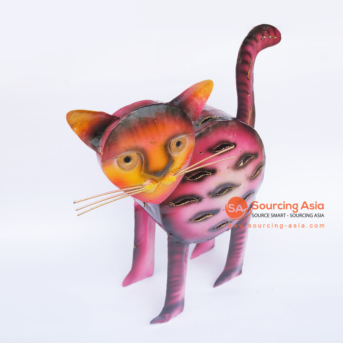 PEBC160 AIRBRUSHED PAINTED METAL CAT DECORATION