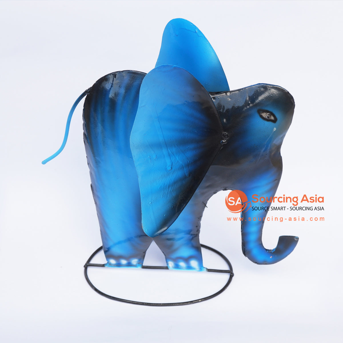 PEBC166 BLUE AND BLACK AIRBRUSHED PAINTED METAL ELEPHANT DECORATION