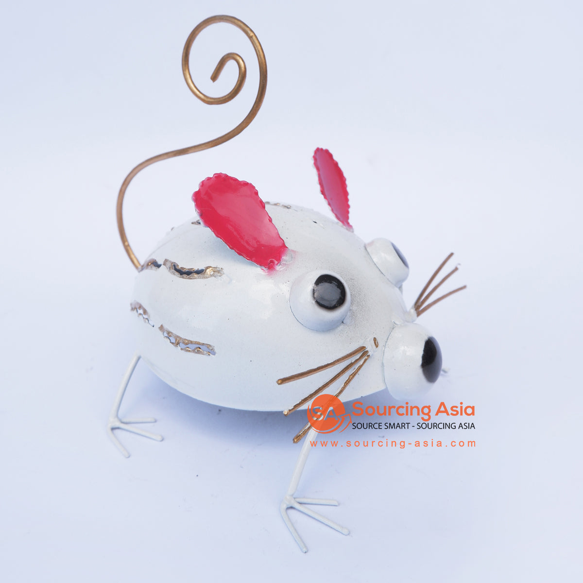 PEBC179 AIRBRUSHED WHITE PAINTED METAL MOUSE DECORATION WITH RED EARS
