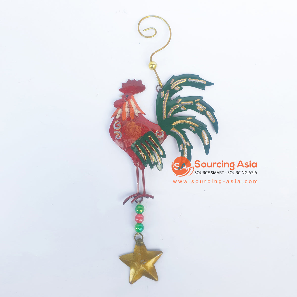 PEBC188 AIRBRUSHED PAINTED RED ROOSTER WITH GREEN WINGS AND TAIL WALL DECORATION WITH HANGING HOOK AND STAR ORNAMENT
